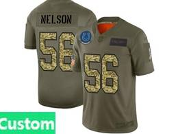 Mens Nfl Indianapolis Colts Custom Made 2019 Green Olive Camo Salute To Service Nike Limited Jersey