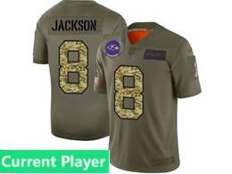 Mens Nfl Baltimore Ravens Current Player 2019 Green Olive Camo Salute To Service Nike Limited Jersey