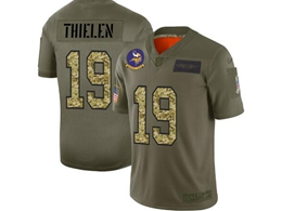 Mens Nfl Minnesota Vikings #19 Adam Thielen 2019 Green Olive Camo Salute To Service Nike Limited Jersey