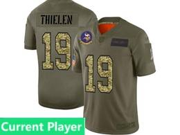 Mens Nfl Minnesota Vikings Current Player 2019 Green Olive Camo Salute To Service Nike Limited Jersey