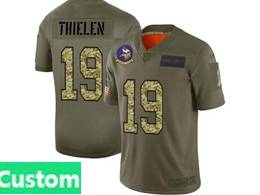 Mens Nfl Minnesota Vikings Custom Made 2019 Green Olive Camo Salute To Service Nike Limited Jersey