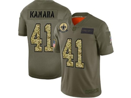 Mens Nfl New Orleans Saints #41 Alvin Kamara 2019 Green Olive Camo Salute To Service Nike Limited Jersey