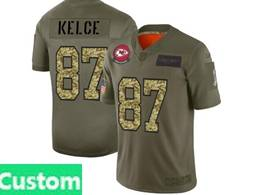 Mens Nfl Kansas City Chiefs Custom Made 2019 Green Olive Camo Salute To Service Nike Limited Jersey