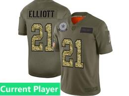 Mens Nfl Dallas Cowboys Current Player 2019 Green Olive Camo Salute To Service Nike Limited Jersey