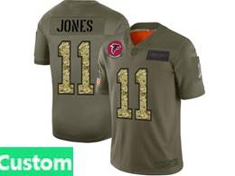 Mens Nfl Atlanta Falcons Custom Made 2019 Green Olive Camo Salute To Service Nike Limited Jersey