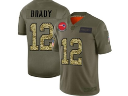 Mens New England Patriots #12 Tom Brady 2019 Green Olive Camo Salute To Service Nike Limited Jersey