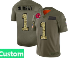 Mens Nfl Arizona Cardinals Custom Made 2019 Green Olive Camo Salute To Service Nike Limited Jersey