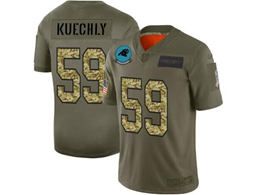 Mens Nfl Carolina Panthers #59 Luke Kuechly 2019 Green Olive Camo Salute To Service Nike Limited Jersey