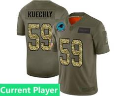 Mens Nfl Carolina Panthers Current Player 2019 Green Olive Camo Salute To Service Nike Limited Jersey