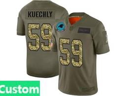 Mens Nfl Carolina Panthers Custom Made 2019 Green Olive Camo Salute To Service Nike Limited Jersey