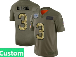 Mens Nfl Seattle Seahawks Custom Made 2019 Green Olive Camo Salute To Service Nike Limited Jersey