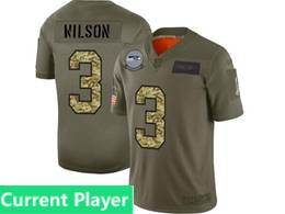 Mens Nfl Seattle Seahawks Current Player 2019 Green Olive Camo Salute To Service Nike Limited Jersey