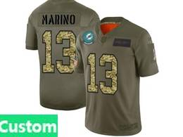 Mens Miami Dolphins Custom Made 2019 Green Olive Camo Salute To Service Nike Limited Jersey