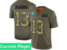 Mens Miami Dolphins Current Player 2019 Green Olive Camo Salute To Service Nike Limited Jersey