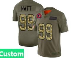 Mens Nfl Houston Texans Custom Made 2019 Green Olive Camo Salute To Service Nike Limited Jersey