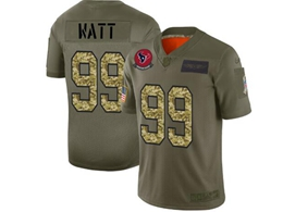 Mens Nfl Houston Texans #99 Jj Watt 2019 Green Olive Camo Salute To Service Nike Limited Jersey