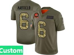 Mens Nfl Cleveland Browns Custom Made 2019 Green Olive Camo Salute To Service Nike Limited Jersey