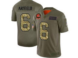 Mens Nfl Cleveland Browns #6 Baker Mayfield 2019 Green Olive Camo Salute To Service Nike Limited Jersey