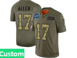 Mens Nfl Buffalo Bills Custom Made 2019 Green Olive Camo Salute To Service Nike Limited Jersey