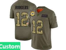 Mens Nfl Green Bay Packers Custom Made 2019 Green Olive Camo Salute To Service Nike Limited Jersey