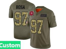 Mens Nfl San Francisco 49ers Custom Made 2019 Green Olive Camo Salute To Service Nike Limited Jersey