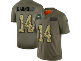 Mens Nfl New York Jets #14 Sam Darnold 2019 Green Olive Camo Salute To Service Nike Limited Jersey
