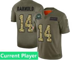 Mens Nfl New York Jets Current Player 2019 Green Olive Camo Salute To Service Nike Limited Jersey