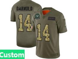Mens Nfl New York Jets Custom Made 2019 Green Olive Camo Salute To Service Nike Limited Jersey