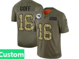 Mens Nfl Los Angeles Rams Custom Made 2019 Green Olive Camo Salute To Service Nike Limited Jersey