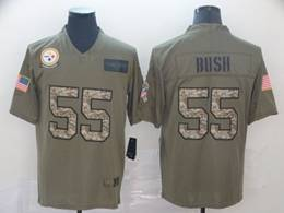 Mens Nfl Pittsburgh Steelers #55 Devin Bush 2019 Green Olive Camo Salute To Service Nike Limited Jersey