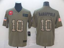 Mens Nfl San Francisco 49ers #10 Jimmy Garoppolo 2019 Green Olive Camo Salute To Service Nike Limited Jersey