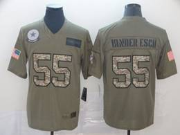 Mens Nfl Dallas Cowboys #55 Leighton Vander Esch 2019 Green Olive Camo Salute To Service Nike Limited Jersey
