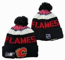 Mens Nhl Calgary Flames Black&red&white Sport Knit Hats