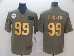Mens Nfl Los Angeles Rams #99 Aaron Donald 2019 Green Olive Gold Number Salute To Service Limited Jersey