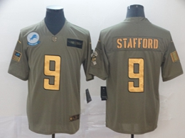 Mens Nfl Detroit Lions #9 Matthew Stafford 2019 Green Olive Gold Number Salute To Service Limited Jersey