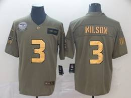 Mens Nfl Seattle Seahawks #3 Russell Wilson 2019 Green Olive Gold Number Salute To Service Limited Jersey