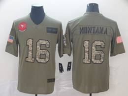 Mens Nfl San Francisco 49ers #16 Joe Montana 2019 Green Olive Camo Salute To Service Nike Limited Jersey