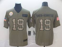 Mens Nfl Pittsburgh Steelers #19 Juju Smith-schuster 2019 Green Olive Camo Salute To Service Nike Limited Jersey