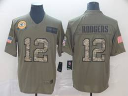 Mens Nfl Green Bay Packers #12 Aaron Rodgers 2019 Green Olive Camo Salute To Service Nike Limited Jersey