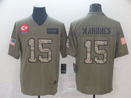 Mens Nfl Kansas City Chiefs #15 Patrick Mahomes 2019 Green Olive Camo Salute To Service Nike Limited Jersey