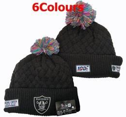 Mens Nfl Oakland Raiders Black&gray 100th New Sport Knit Hats 6 Colors