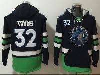 Mens Youth Nba Minnesota Timberwolves #32 Karl-anthony Towns Black With Pocket Hoodie Jersey