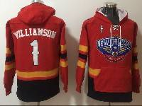 Mens Youth Nba New Orleans Pelicans #1 Zion Williamson Red With Pocket Hoodie Jersey