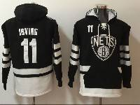Mens Youth Nba Brooklyn Nets Custom Made Black With Pocket Hoodie Jersey