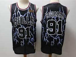 Mens Nba Chicago Bulls #91 Dennis Rodman Black Hardwood Classics Light Limited Jersey