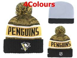 Mens Nhl Pittsburgh Penguins Yellow&black&white Sport Knit Hats 4 Colors