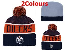 Mens Nhl Edmonton Oilers Blue&yellow&white Sport Knit Hats 2 Colors