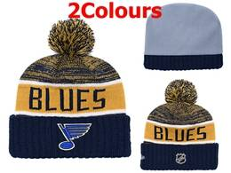 Mens Nhl St.louis Blues Blue&yellow&white Sport Knit Hats 2 Colors