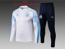 Kids 19-20 Soccer Olympique De Marseille Club White Training And Blue Sweat Pants Training Suit ( High Roll Collar )