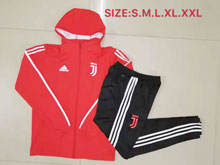 Mens 19-20 Soccer Juventus Club Red Zipper Training And Black Sweat Pants Training Suit ( Hooded )
